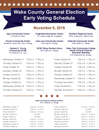 2018GeneralElectionEarlyVotingSchedule