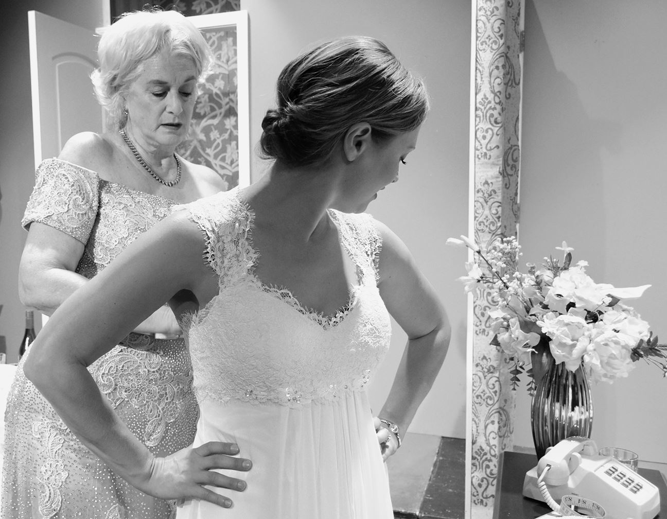 Wedding Dress Mother and Rachel BlackWhite